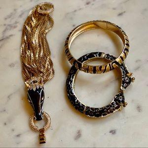 Gold Tone Animal Statement Bracelets